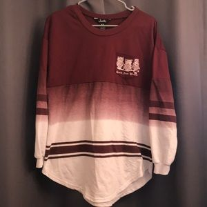 Maroon and white sweatshirt